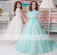 New Coming staccabile in pizzo Bow Ball Gown Sweep treno maniche corte Tulle Wedding Flower Girl ABITI