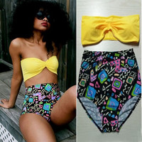 Wholesale Removable Push Up Bikini - 2PCS Removable Halter Bikinis Sexy Women Swimwear with Bow Top+ Floral Bottom High Waist Swimsuit Padded Push Up Bathing Suits QT066