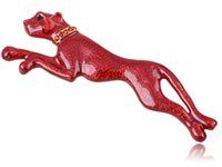 Wholesale Leopard Crystal Brooch - Wholesale- Fire Painted Enamel Red Rhinestone Crystal Panther Leopard Cat Pin Brooch