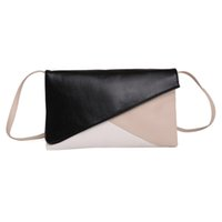 Wholesale Wholesale Patchwork Leather Handbags - Wholesale- European and American Style Women Patchwork Envelope Clutches Handbag Fashion Lady Panelled PU Leather Solid Shoulder Bags