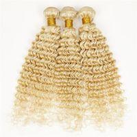 3pcs remy haar verkäufe großhandel-Brasilianisches reines haar tiefe welle 613 blonde haarverlängerungen billig haar tiefes lockiges hellblondes gewebe 3 stück bundles zum verkauf