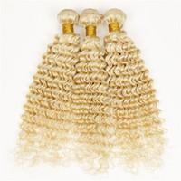 saç uzantıları kıvırcık dalga toptan satış-Brezilyalı Bakire Saç Derin Dalga 613 Sarışın Saç Uzantıları Ucuz Satışa Saç Derin Kıvırcık Işık Sarışın Örgü 3 adet Demetleri