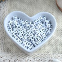 Wholesale Plastic Cube Beads - 500 piece Lot Loose Beads Handmade DIY Cube White Bead Number Heart Symble Acrylic Beads 6mm for Jewelry Making Bracelets