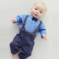 Wholesale Baby Boy Plaid Overalls - Boys Gentleman Autumn Outfits Baby Boys Plaid Bow Shirts with Cotton Overalls 2017 childrens Fashion sets