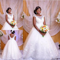 Wholesale castle princess bride - White Princess Lace A-line Wedding Dresses 2018 African Sheer Scoop Neck Lace up Back Plus Size Bride Dress Wedding Gowns