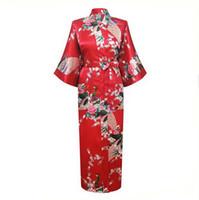 Wholesale Sexy Yukata - Wholesale- Red Chinese Women Silk Rayon Robes Long Sexy Nightgowns Yukata Kimono Bath Gown Sleepwear pijama feminino Plus Size XXXL NR060