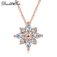 Wholesale Luxury Necklaces Gemstone Pendant - Luxury Snowflake CZ Diamond Necklaces & Pendants Imitation Gemstone Vintage Fashion Brand Chain Jewelry For Women DFN400
