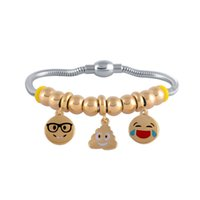 Wholesale Laugh Bead - Stainless Steel Interested Exquisite EMOJI One Feces Show Teeth Laugh And Cry Angry Doze Off Surprised Lovers Hand String Beads Bracelets