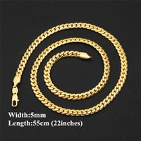 Wholesale Yellow Gold Chain 22 - Hotsale Trendy Men Snake Chain 18K Yellow Gold Color 5mm 55cm 22 inches Necklace Men Link Chain Jewelry Party Gift Drop Shipping