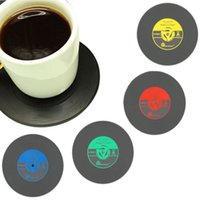 Wholesale Retro Vinyl CD Album Record Drinks Coasters Bar Table Decor Cup Glass Skid Mat Pads Holder