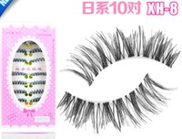 Wholesale Clear Eyelash Band - XH-8 silk eyelashes 10 pairs tray 10 Pairs Handmade Natural Fashion False Eyelashes clear band Soft Long Eye Lash Cosmetic Free shipping
