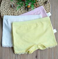 Wholesale Girls Lace Boxer Shorts - 6Pcs lot Cotton Kids Girls Underwear Shorts Panties For Baby Soft Children Lace Leggings Plain Color