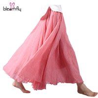 Wholesale Ladies Petticoats - 2017 New Long Pleated Skirts Womens Adult Tulle Skirt Maxi Retro Bohemian Beach Petticoat Casual Ladies Boho Skirts White Black