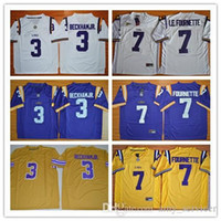 Wholesale Drop Stops - Best Quality LSU Tigers 3 Odell Beckham JR. 7 Leonard Fournette College Limited Jerseys 2017 New Cheap Mens Stitched Shirts Free Drop Shippi