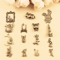 Wholesale Diy Charms Bunny - DIY jewelry accessories wholesale handmade necklace bracelet rabbit charms, bunny Jade Hare pendants animal, vintage antique bronze charm