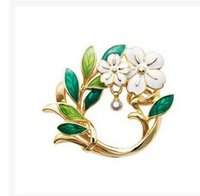 Wholesale flower hijab green - Wholesale- 2016 oil green flower elegant white enamel brooch Wedding Accessories Hijab Pins Crystal Insect Broche Mujer Scarves Shawls