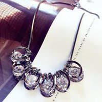 Wholesale Key Chains Korean Wholesale - Wholesale necklace low-key luxury bright crystal rhinestone short section of the clavicle chain Korean accessories women jewelry pendant