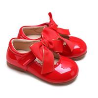 rote babykleidschuhe großhandel-Pettigirl 2019 Kleid Schuhe Baby Mädchen Schuhe Rot Mikrofaser Leder Handgemachte Kinderschuhe (Ohne Schuhkarton)