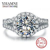 Wholesale pave diamond engagement ring - YHAMNI Real Solid 925 Silver Wedding Rings Jewelry for Women 2 Carat Sona CZ Diamond Engagement Rings Accessories XMJ510