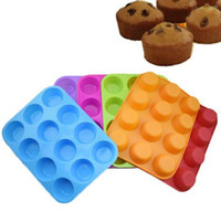 Wholesale 12 Cup Cake Pan - Silicone Nonstick 12 Cups Muffin Pan Cupcake Tray Cake Baking Mold Silicone Bakeware Cup Baking Pan Cupcake Moulds KKA3327