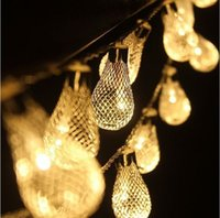 Wholesale christmas holiday bulbs resale online - wedding dresses lights Led Metal Bulbs String Light W With US EU Plug Led Strings Christmas Wedding Party Lights Set
