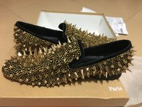 Wholesale Gold Gifts Christmas Pictures - [Real Pictures]Mens Wedding Loafer Shoes Red Sole,Male Dress Shoes Gold Big Nail Dandy pikpik spooky Shoes,Party Birthday Gift 39-46