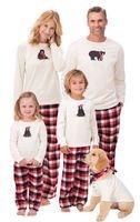 Wholesale Kids Winter Pjs - 2017 christmas matching family outfits kids pijama sets adult pyjamas sleepwear baby bear plaid pajamas women men pjs suit nightwear clothes