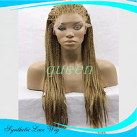 Wholesale Hair Braid Blonde - long blonde box braided lace front wigs Heat Resistant black Braiding Kanekalon Hair Synthetic Lace front Wig Braided Wigs For black Woman