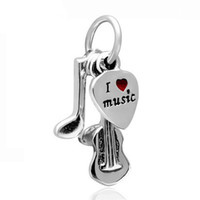 Atacado 20pcs / lot Fashion Silver Plated Note Design de guitarra Dangle DIY encantos caber Pulseira Pulseira Europeia Preço baixo