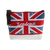 Venta al por mayor - Monedero de las mujeres Union Jack Embroidered Admission Package Monedero de la lona monedero Bolsa de mano Monedero de la tarjeta Money Holder Mini embrague