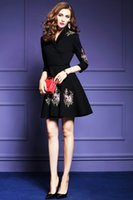 Wholesale Knit Wear Dresses Sale - New arrived hot sale Knitted embroidery dress autumn new 2017 large size women's V-neck seven sleeves Slim A-line skirt black