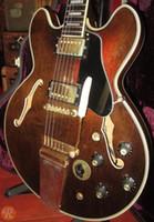 pont de queue de guitare achat en gros de-Custom E355 TDSV Noyer Brun 1974 Semi Creux Corps Jazz Guitare Électrique Cordier Vibrato Pont Noir Pickguard Bloc Blanc Perle Incrustations