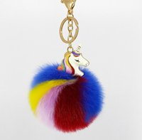 Wholesale Unicorn Plush Toys - 2017 new unicorn plush Key ring bag Pendant unicorn Keychain cartoon Key chain 36 colors free shipping