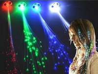 Wholesale Flash Extensions - LED Colour Flash Braid Light Up Fibre Braids Hair Extension Disco Night Club Concert Dancing Party Rock Atmosphere props FAVORS