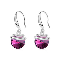 Wholesale Vintage Design Element - Fashion round shape design jewelry for women wedding party sliver plated boho vintage earings made with Swarovski elements crystal