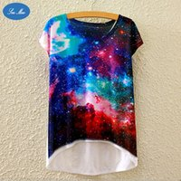 Wholesale Loose Galaxy Shirts Short Sleeve - Cosmos Star printing women 's short - sleeved T shirt loose Galaxy digital printing leisure space SEA MAO