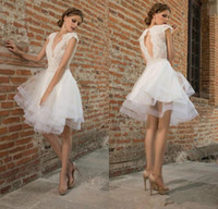 Wholesale Sexy Stylish Short Skirts - Stylish Lace Appliqued Backless Wedding Dresses With Cap Sleeves A-Line Deep V-Neck Knee Length Tulle Tiered Short beach Bridal Gowns