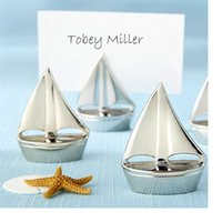 Wholesale Sail Boat Place Cards - Shining Sails Silver Boat Place Card Holder name picture holder frame Sailing seat Event & Party Supplies