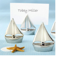 Shining Sails Silver Boat Place Titulaire de la carte nom picture holder frame Siège de voile Event Party Supplies