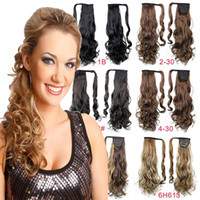Wholesale Wavy Tape - Wholesale- Heat Resistant Synthetic Long Sexy Lady 26inch Curly Wavy Ponytail Hair Extension Dark Brown Black Blonde Tape Pony tail USA