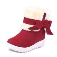 Wholesale Women Wearing Boots - Wholesale-Snow Boots Women Winter Shoes Bowknot Botas Mujer Warm Plush Mid-calf Wedges Platform Shoes Woman Two Wear Women Boots WSH2205