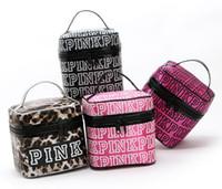 Wholesale Double Makeup Bag - Victoria Classic Love Pink Secret Cosmetic Bag Double Zipper Handbag Portable Storage Bag 4 Colors Makeup Train Cases