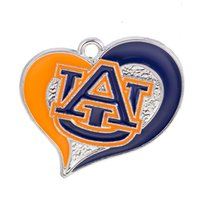 Wholesale Tiger Charms Wholesale - 10PCS Newest Sport Team Metal Enamel Pendant Charms NCAA Auburn Tiger DIY Bracelet  Earring Sport Women Gift Jewelry