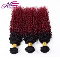 Ombre Peruvian Hair Extensions Two Tone Color 1B BG Ombre Peruvian Kinky Curly Hair Weave Bundles