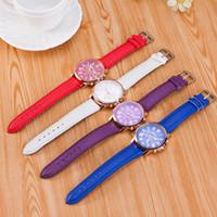 Wholesale Geneva Women S - High Quality New Geneva Women s watches Quartz relogio Roman Numerals Faux Leather Analog Wrist Watch