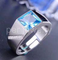 Wholesale Blue Topaz Rings For Women - Men ring Topaz ring Natural real blue topaz 925 sterling silver For business men Gem size Per jewelry gem For men or women