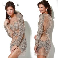 Wholesale Dh Prom Dresses - Real Photos Top Quality Sheath 006-DH Sexy See Through Long Sleeves Crystal Mini Length Evening Party Prom Dresses Beaded Sequins Applique