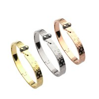 Wholesale Rose Gold Flower Ring - hot sale highqu New style silver rose 18k gold plated 316L titanium steel flower love bangle bracelet for female couple woman