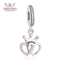 Wholesale Interlocked Necklace - Memnon Jewelry Crowned Hearts Pendant Charms Fit Bracelets necklace DIY 925 Sterling Silver Interlocked Heart Beads Jewelry Making DA185