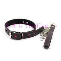 Wholesale Adult Costume Patterns - Unisex Faux Leather Collar Bondage Toys Sexy Heart Pattern Slave Dog Collar Couples Adult Games Sex Costumes For Men Women